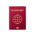 red passport isolated on white international vector image vector image