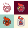 rooster year label set vector image