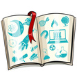 Science symbol on a book vector image vector image