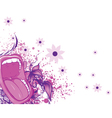 Screaming mouth with floral background and splash vector image