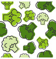 seamless outline broccoli vegetable pattern vector image vector image