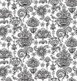 seamless pattern with hand drawn henna mehndi vector image
