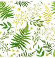 Seamless pattern with leaves floral set