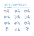 set color line icons motorcycles vector image vector image