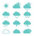 set of clouds weather icons flat style vector image