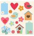 Set of flowers and birds vector image