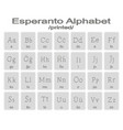 set of monochrome icons with esperanto alphabet vector image