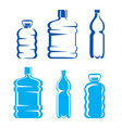 set plastic bottles symbols and silhouettes vector image vector image