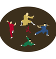 The four men are engaged Kung fu vector image vector image
