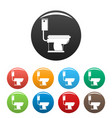 toilet icons set color vector image vector image