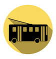 trolleybus sign flat black icon with flat vector image vector image