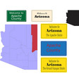 us arizona state apache county map and road sign vector image vector image