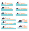 woman lying in various poses set side view vector image