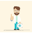Happy doctor with suitcase in hand Man showing vector image