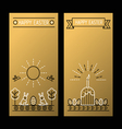 Happy Easter golden banners with a linear drawing vector image