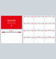 2022 calendar planner set for template corporate vector image
