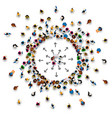 a lot of people stand in white background vector image vector image