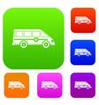 ambulance emergency van set color collection vector image vector image