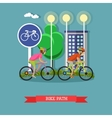Bicycle riders on bikes in city park Biking sport vector image