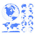 blue earth globes set and world map vector image vector image