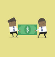 businessman are pulling the dollar to each other vector image vector image