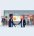 businesspeople handshake mix race man woman vector image