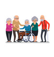 cartoon old people happy aged citizens disabled vector image vector image