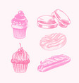 chocolate cupcake with cherries eclair and donut vector image