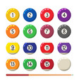 collection billiard pool or snooker balls vector image