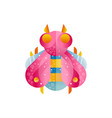 colorful beetle with pink wings icon of flying vector image vector image