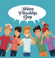 colorful card of happy friendship day with group vector image vector image