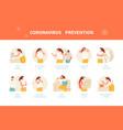 coronavirus prevention infographics vector image vector image