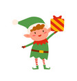 cute christmas elf holding present decorated with vector image vector image
