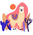 cute llama with leaves and cactuses template for vector image