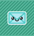 cute smiling kawaii cartoon mail envelope icon vector image vector image