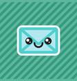 cute smiling kawaii cartoon mail envelope icon vector image