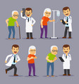 doctors and elderly people medicine for old vector image