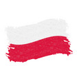 flag of poland grunge abstract brush stroke vector image