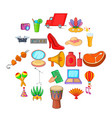 food court icons set cartoon style vector image vector image