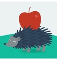 Forest hedgehog carries apple vector image