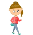 Girl Walks in Sweater and Jeans vector image vector image