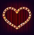 golden heart frame glowing light bulbs vector image
