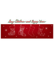 hand drawn of lovely christmas stockings on red ba vector image