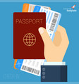 hand with passport and air tickets flat icon vector image