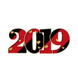 happy new year card black red number 2019 gold vector image vector image