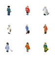 isometric people set of guy medic cleaner and vector image vector image