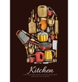 Kitchenware and dishware poster vector image vector image