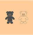little bear dark grey set icon vector image vector image