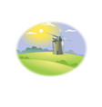 lovely sunrise windmill grass vector image