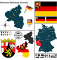 Map of Rhineland Palatinate vector image vector image